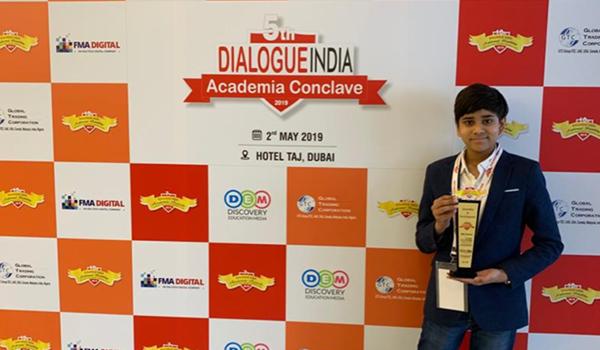 "Child Innovator Award"" at the 5th Dialogue India Academic Conclave 2019- Dubai"